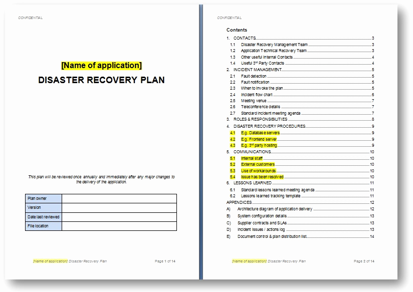 Disaster Recovery Plan Example Pdf Beautiful Templates the Continuity Advisorthe Continuity Advisor