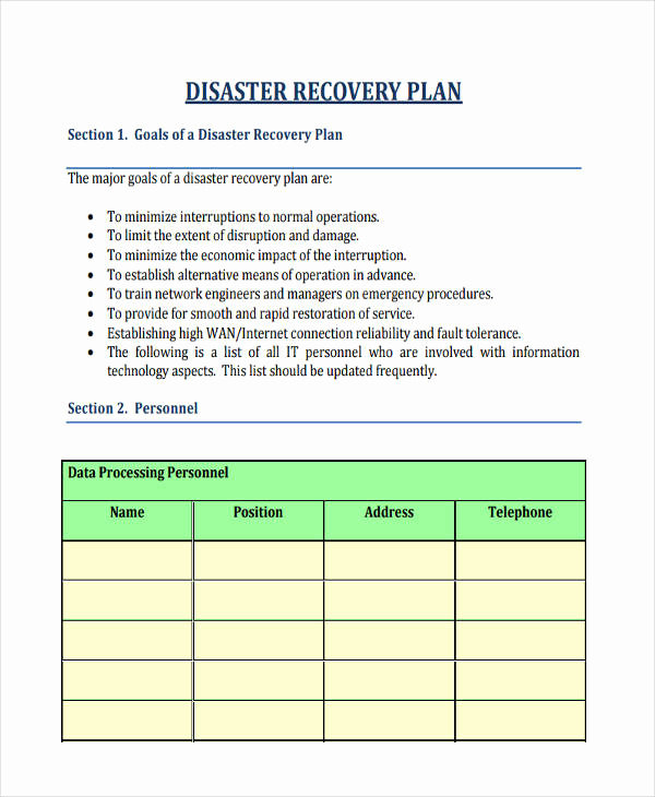 Disaster Recovery Plan Example Pdf Best Of 74 Personal Plan Examples & Samples Pdf Word Pages