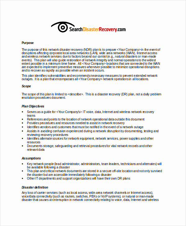 Disaster Recovery Plan Example Pdf Fresh Disaster Recovery Plan Example
