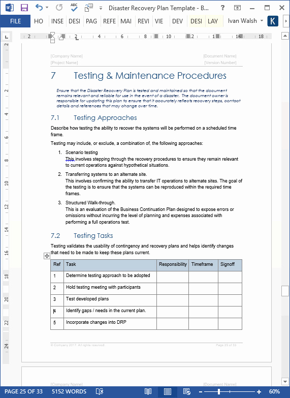 Disaster Recovery Plan Example Pdf Inspirational Disaster Recovery Test Plan Template Templates Resume