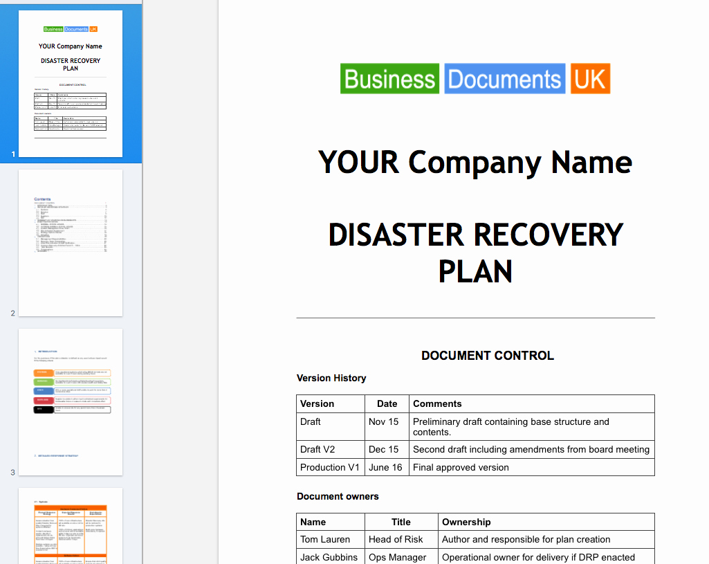 Disaster Recovery Plan Example Pdf Unique Disaster Recovery Plan Template Essential Cover