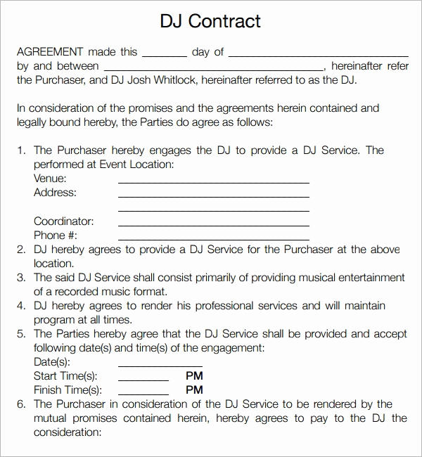 Disc Jockey Contracts Template Elegant Disc Jockey Contracts Template 15 Ways How to Prepare