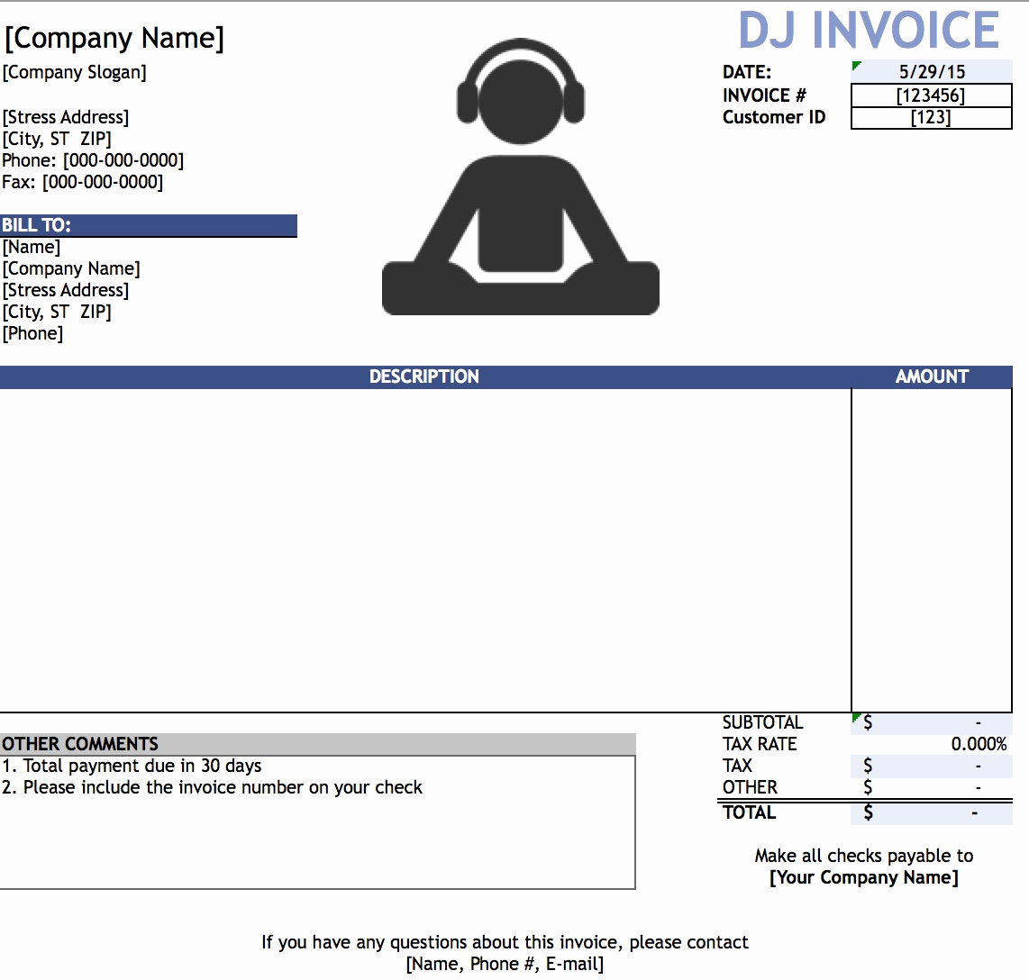 Disc Jockey Contracts Template Elegant Dj Invoices Templates