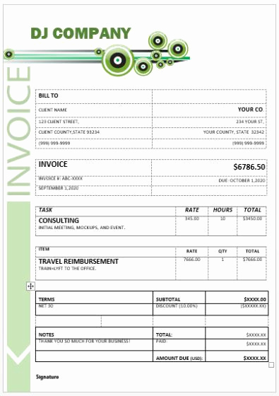 Disc Jockey Contracts Template Fresh Dj Invoice