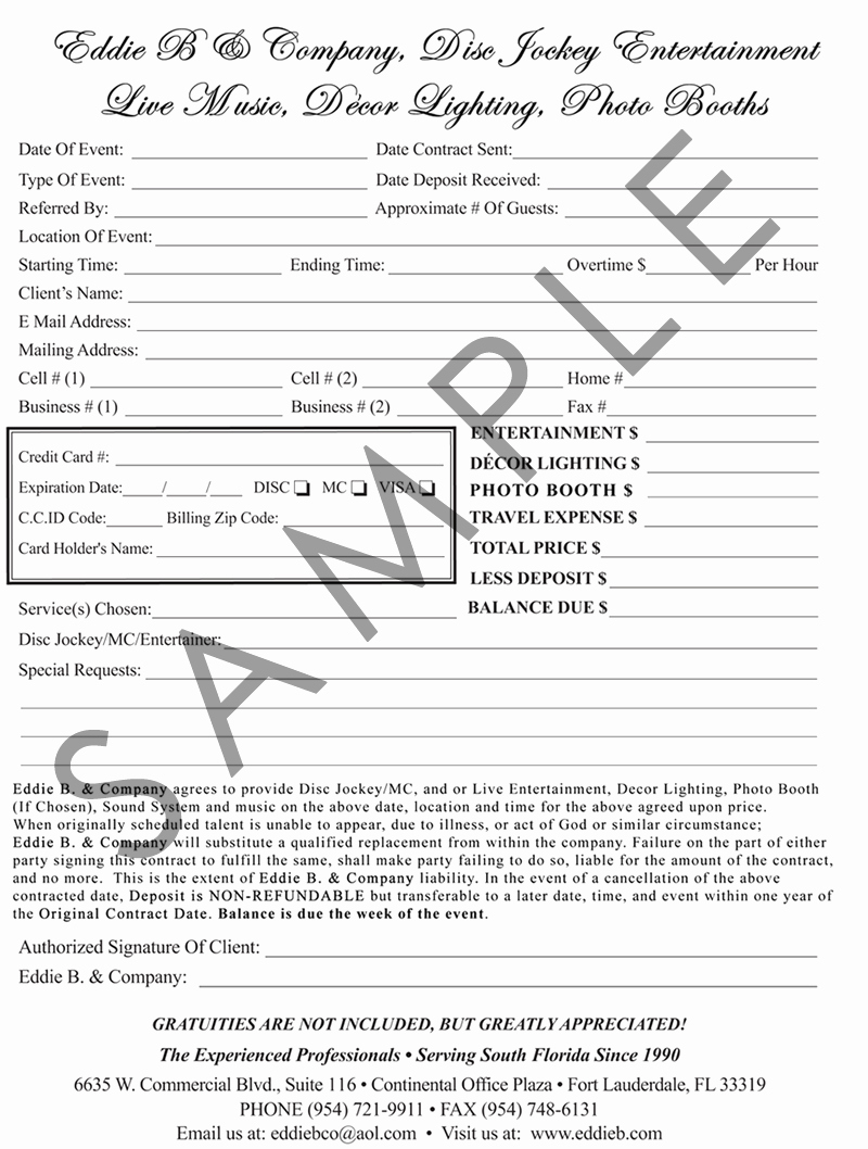 Disc Jockey Contracts Template Inspirational Wedding Dj Contract Free Printable Documents