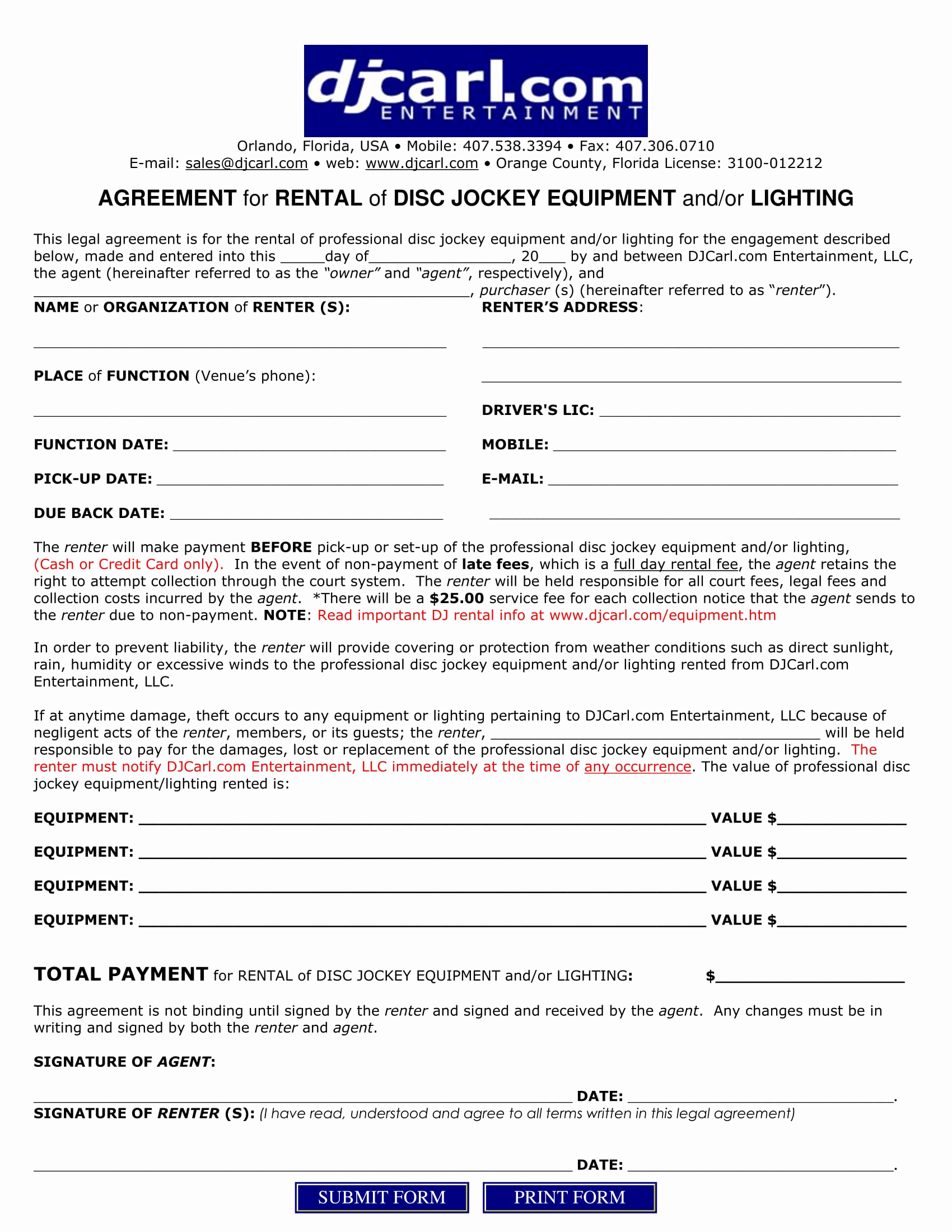 Disc Jockey Contracts Template Luxury 5 Dj Contract forms Dj Agreement Equipment Rental