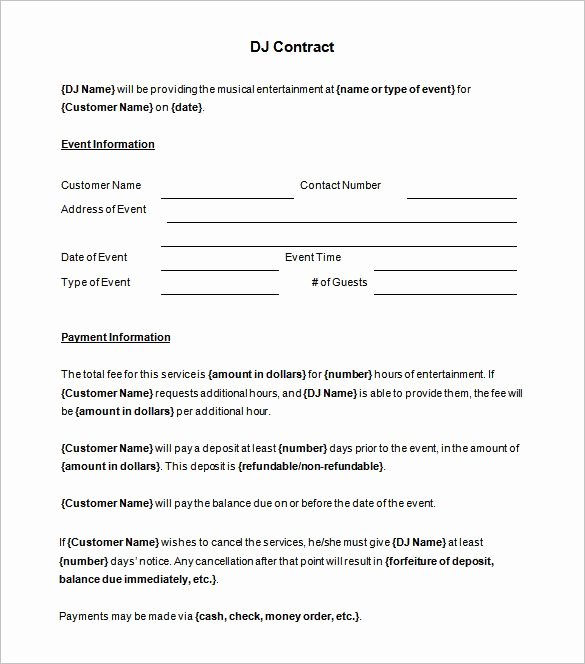 Disc Jockey Contracts Template Luxury 6 Dj Contract Templates – Free Word Pdf Documents