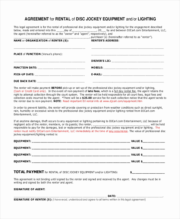 Disc Jockey Contracts Template Unique Sample Dj Contract form 8 Free Documents In Pdf Doc