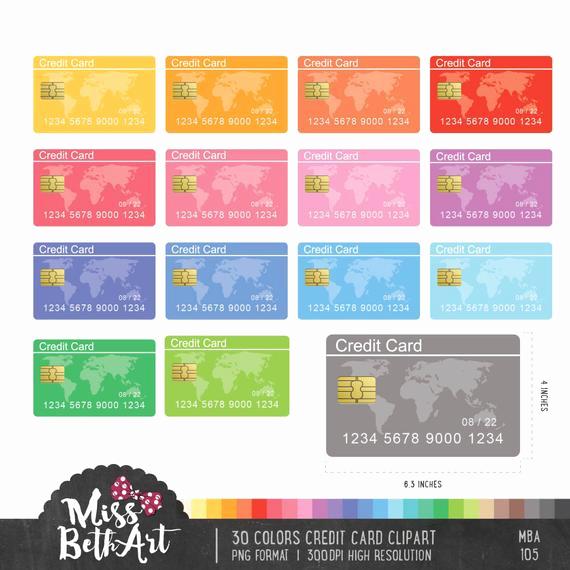 Discover Credit Card Designs Unique 30 Colors Credit Card Clipart Instant Download