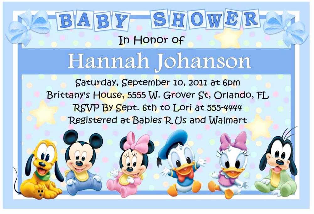 Disney Baby Shower Invitations Awesome Baby Mickey Disney Babies Baby Shower Invitations