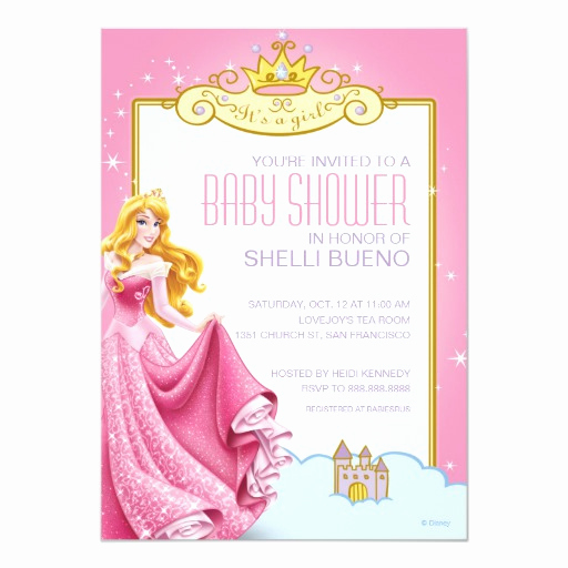 Disney Baby Shower Invitations Beautiful Disney Princess Aurora It S A Girl Baby Shower 5x7 Paper