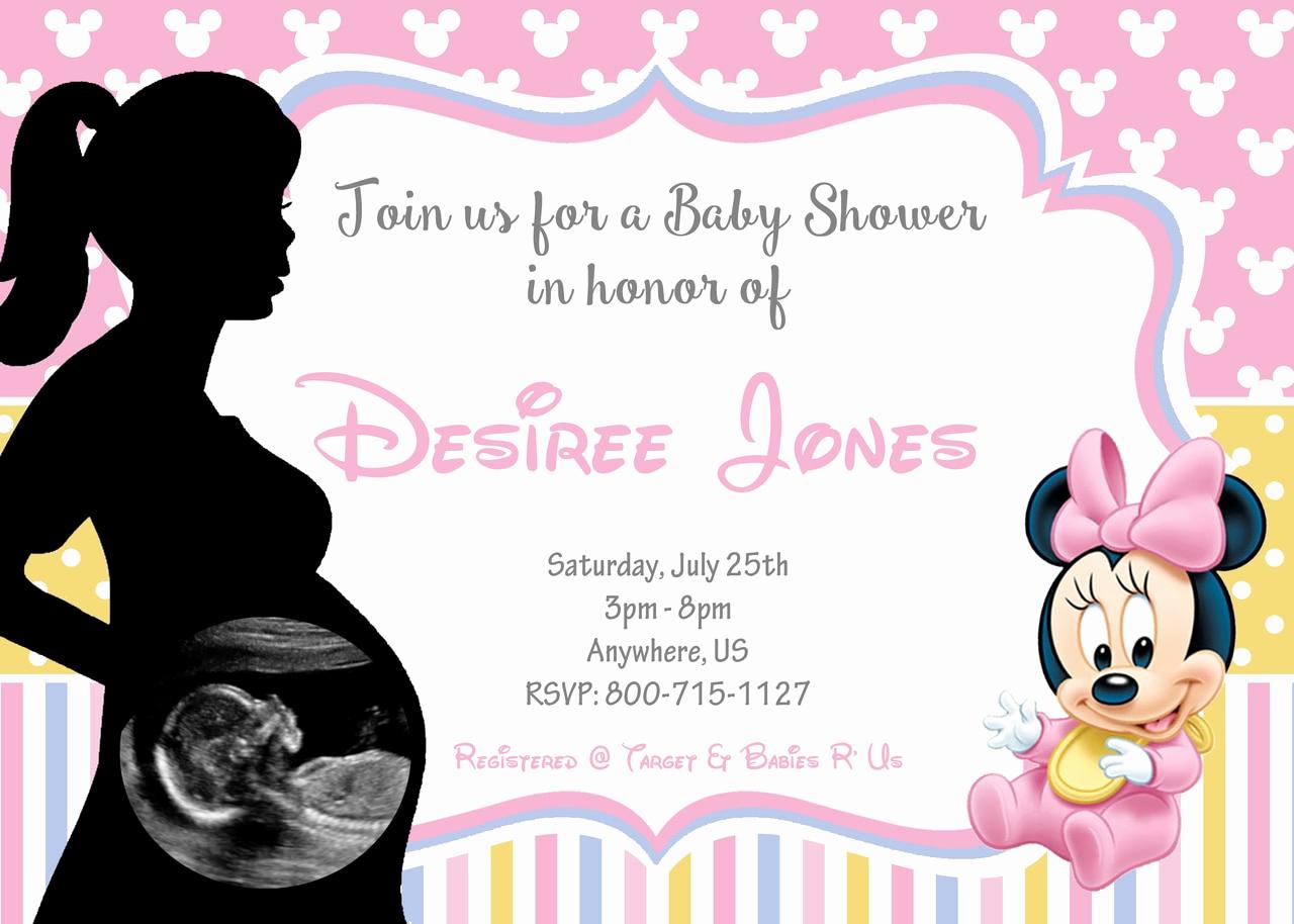 Disney Baby Shower Invitations Beautiful Ultrasound Disney Baby Minnie Baby Shower Invitations