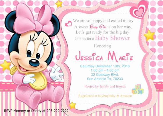 Disney Baby Shower Invitations Elegant Disney Baby Minnie Baby Shower Invitations Baby sower