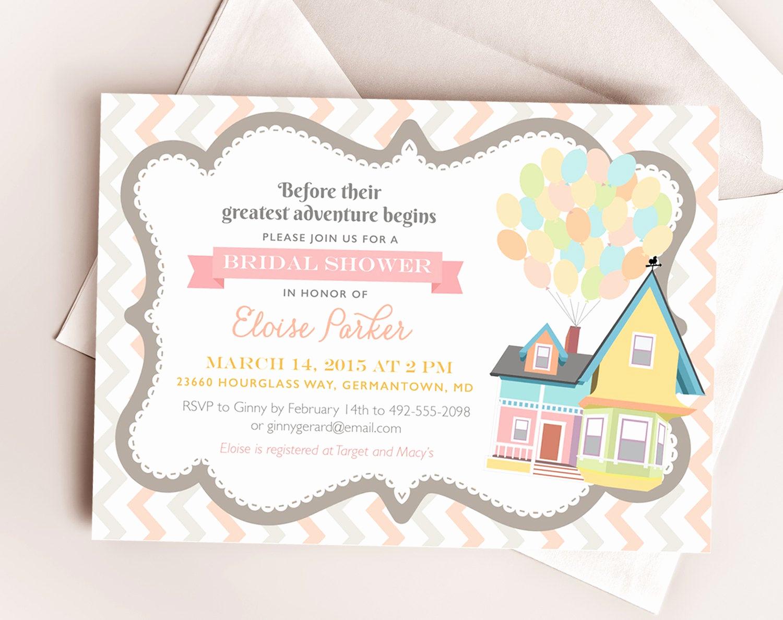 Disney Baby Shower Invitations Elegant Disney Up Wedding Bridal or Baby Shower Printable by