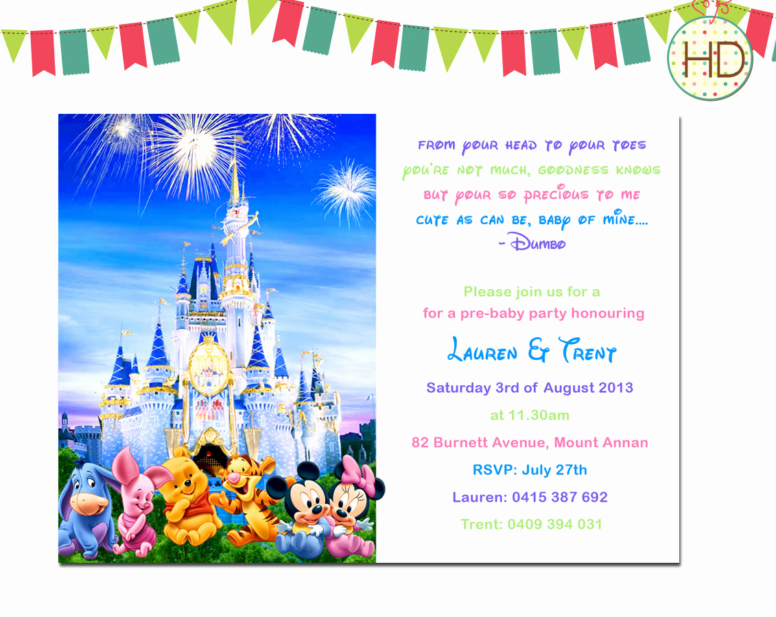Disney Baby Shower Invitations Fresh Disney Baby Shower Invitation Disney Castle Baby by