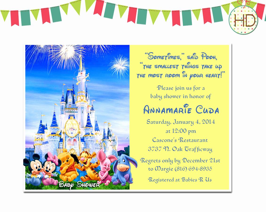 Disney Baby Shower Invitations Fresh Disney Baby Shower Invitation with Customized by Hdinvitations