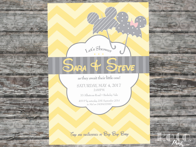Disney Baby Shower Invitations Fresh Mickey and Minnie Disney Baby Shower Invitation