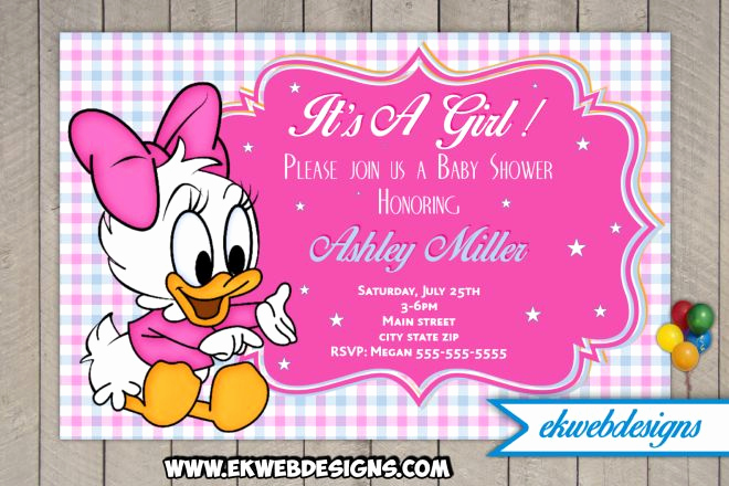 disney baby daisy baby shower invitations