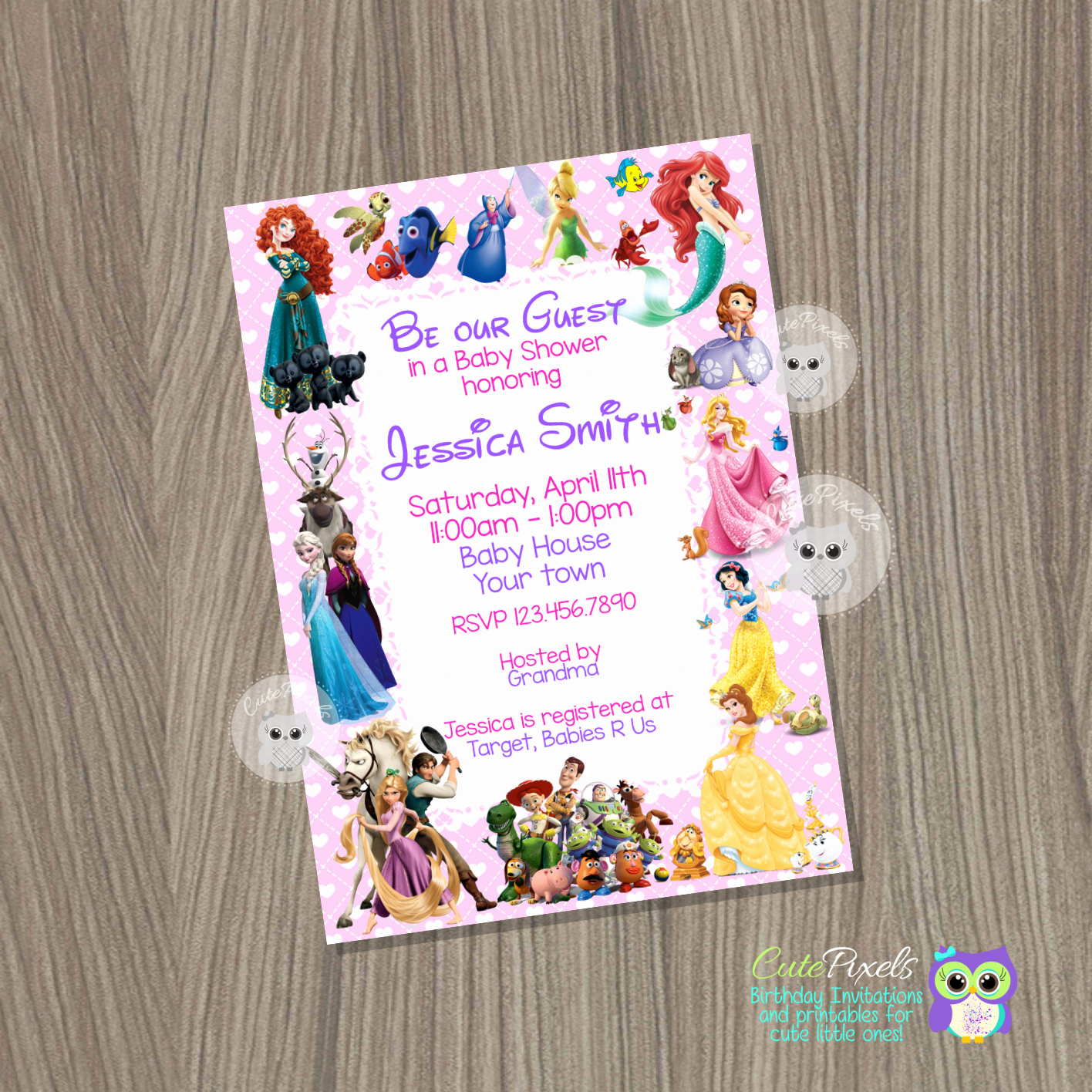 Disney Baby Shower Invitations Luxury Baby Shower Invitation for Girl Disney Baby Shower Baby Girl