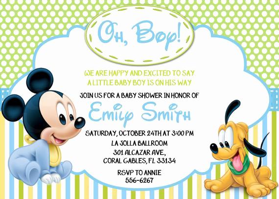 Disney Baby Shower Invitations Luxury Disney Baby Mickey Mouse Inspired Baby Shower or Birthday