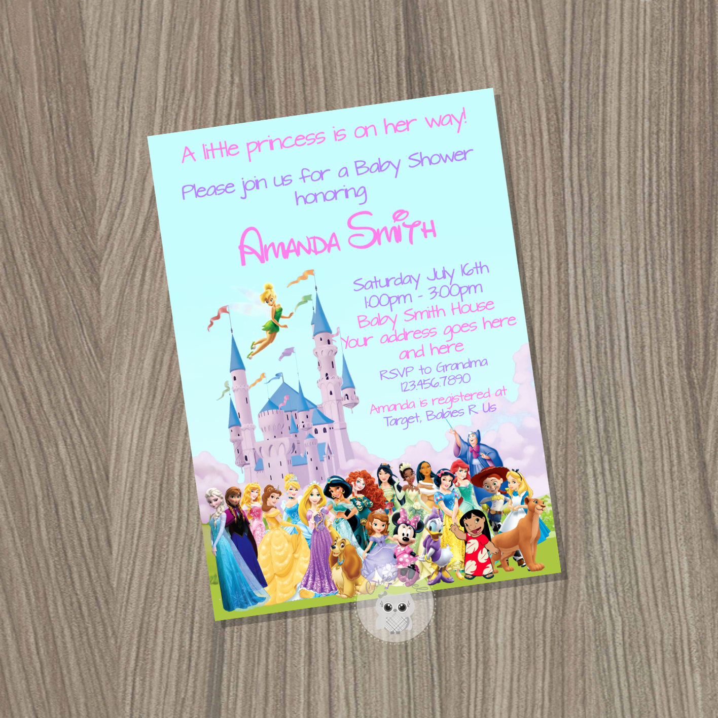 Disney Baby Shower Invitations New Baby Shower Invitation for Girl Disney Baby Shower Baby Girl