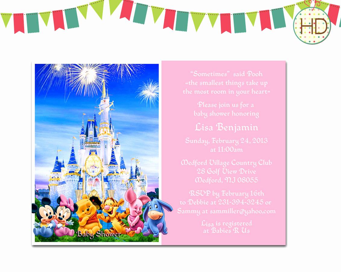 Disney Baby Shower Invitations New Disney Baby Shower Invitation Disney Castle Baby by