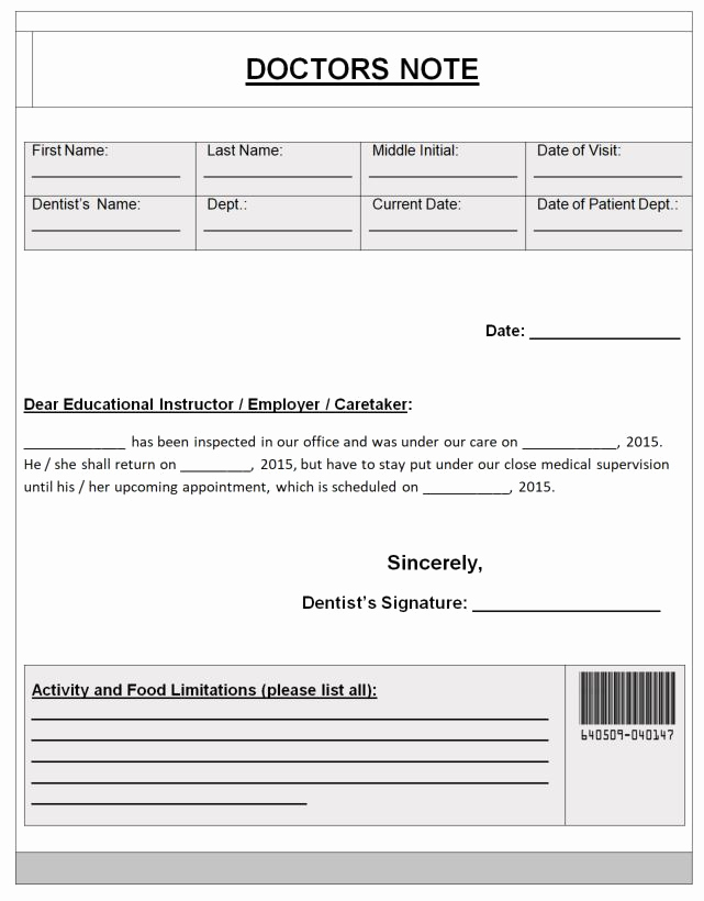 Doctor Excuse for Work Beautiful 51 Doctor's Note Excuse Templates for School or Work