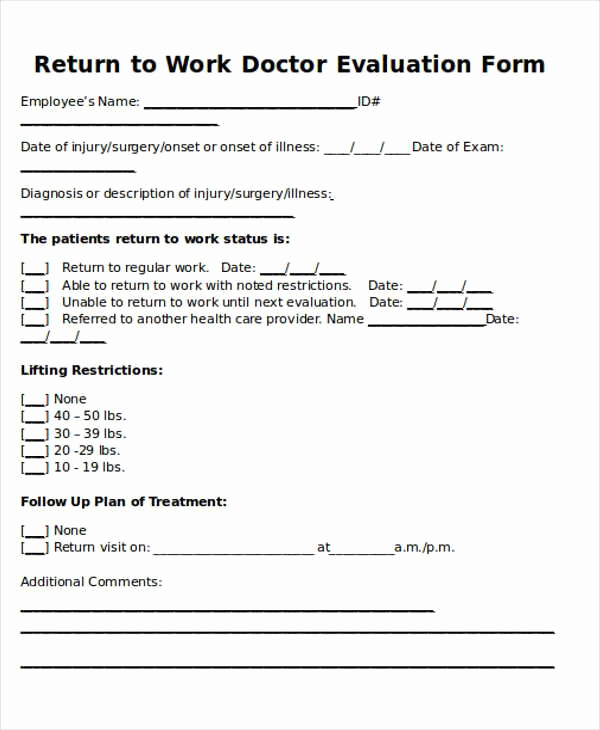 Doctor Excuse for Work Beautiful Return to Work Doctors Note Template