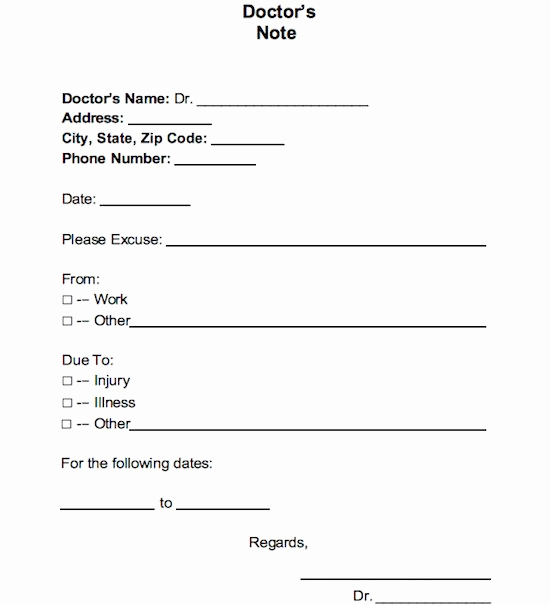 Doctor Excuse for Work Best Of 25 Free Doctor Note Excuse Templates Template Lab
