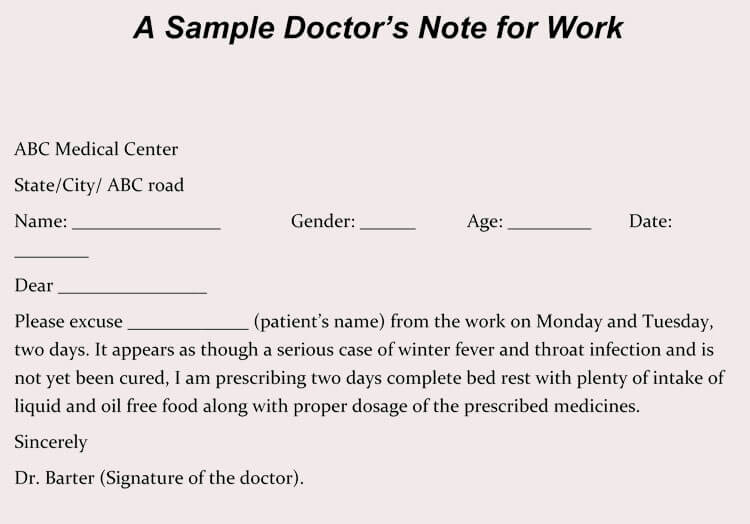 Doctor Excuse for Work Lovely Creating Fake Doctor S Note Excuse Slip 12 Templates