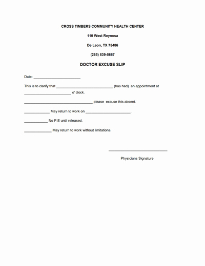 Doctor Excuse for Work Luxury Doctors Note for Work Template Download Create Fill and