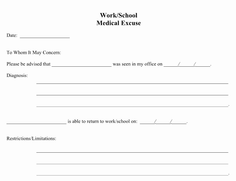 Doctor Excuse for Work Unique 25 Free Doctor Note Excuse Templates Template Lab