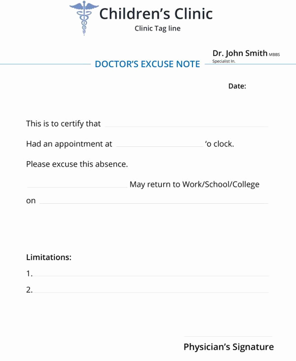 Doctor Note for School Awesome 34 Doctors Note Samples – Pdf Word Pages Portable