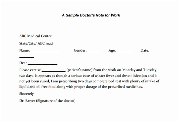 Doctor Note for School Beautiful 35 Doctors Note Templates Word Pdf Apple Pages