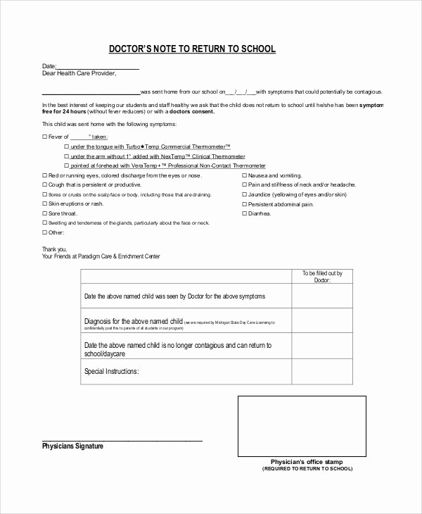 Doctor Note for School Best Of 36 Doctors Note Samples Pdf Word Pages