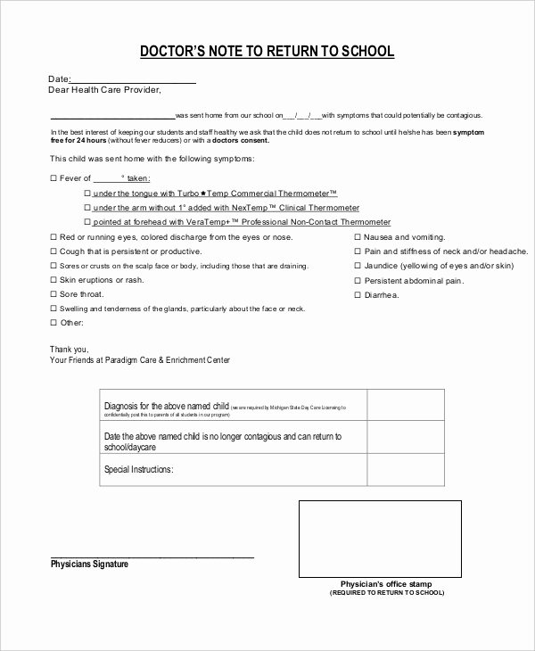 Doctor Note for School Fresh Doctors Note Template for School 6 Free Word Pdf