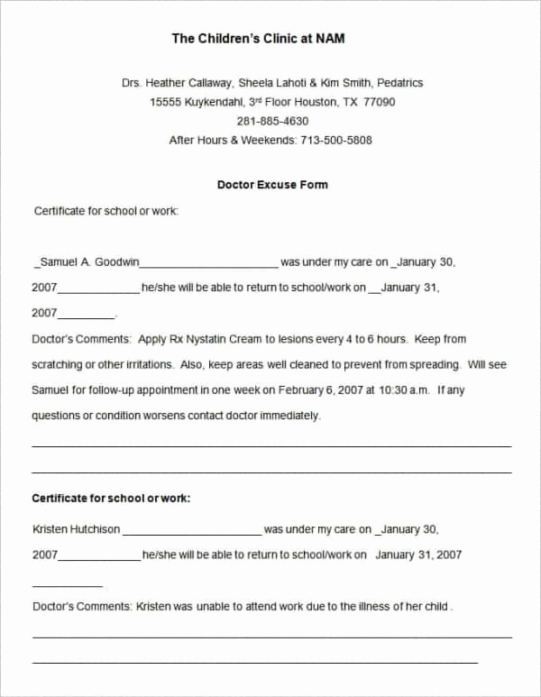 Doctor Note for School Inspirational 35 Doctors Note Templates Word Pdf Apple Pages