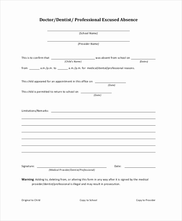 Doctor Note for School Luxury Doctors Note Template for School 6 Free Word Pdf