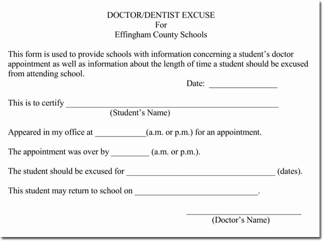 Doctor Note for School New Doctor S Note Templates 28 Blank formats to Create