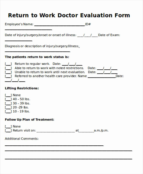 Doctor Notes for Work Free Beautiful Return to Work Note Sample 6 Examples In Word Pdf