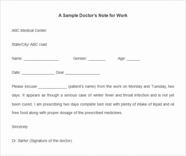 Doctor Notes for Work Free Elegant 35 Doctors Note Templates Word Pdf Apple Pages