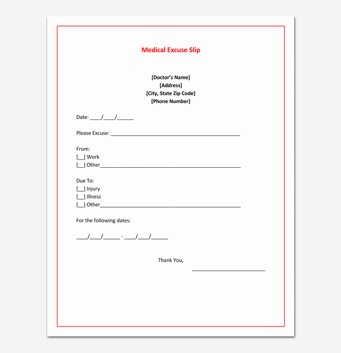 Doctor Notes for Work Fresh Doctors Note Template 7 Fillable Notes for Word & Pdf