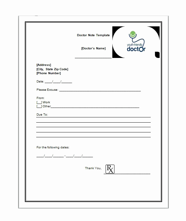 Doctor Notes for Work Unique 25 Free Doctor Note Excuse Templates Template Lab