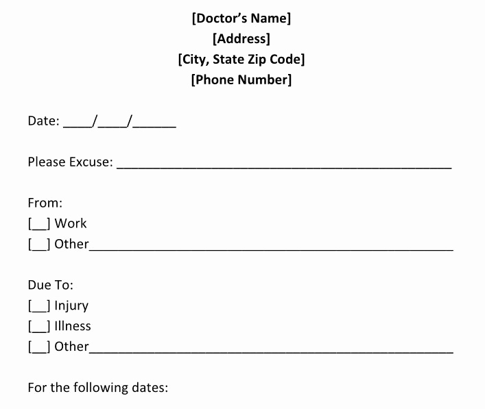 Doctors Excuse for Work Unique 25 Free Doctor Note Excuse Templates Template Lab