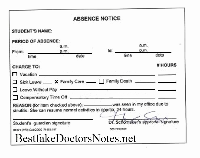 Doctors Note for Work Absence Awesome Wrchallenge