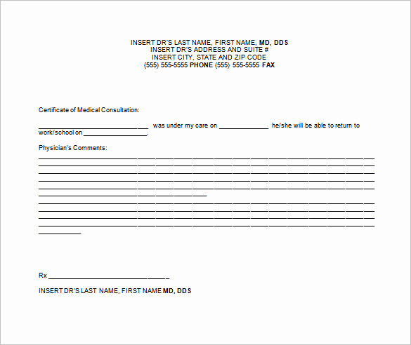 Doctors Note for Work Absence Fresh Doctor Note Templates for Work 7 Free Sample Example
