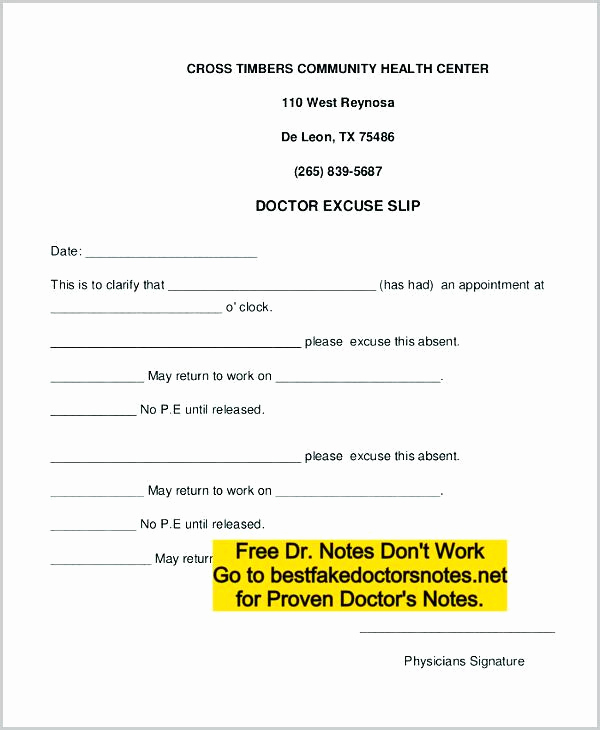 Doctors Note for Work Absence Unique Fake Doctors Note Excuse Templates for Work & School Pdf