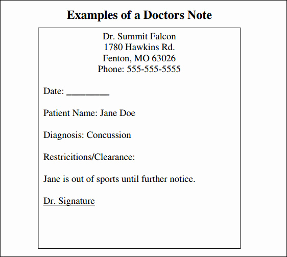 Doctors Note for Work Pdf Awesome 36 Doctors Note Samples Pdf Word Pages
