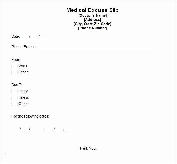 doctor excuse template