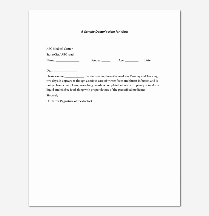 Doctors Note Template for Work Beautiful Doctors Note Template 7 Fillable Notes for Word & Pdf